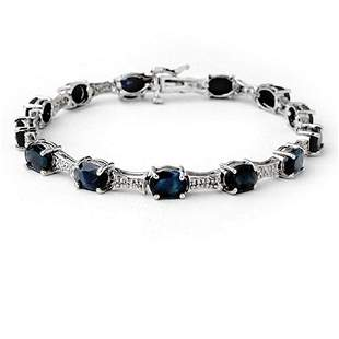 11.39 ctw Blue Sapphire & Diamond Bracelet 10k White