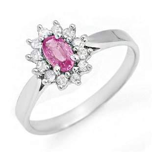 0.83 ctw Pink Sapphire & Diamond Ring 18k White Gold -