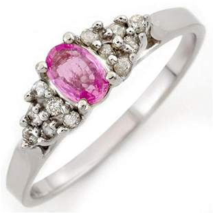 0.74 ctw Pink Sapphire & Diamond Ring 18k White Gold -