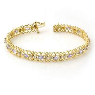 2.82 ctw Tanzanite & Diamond Bracelet 10k Yellow Gold -