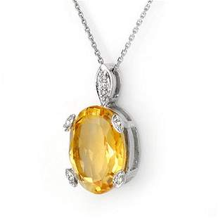 10.10 ctw Citrine & Diamond Necklace 10k White Gold -
