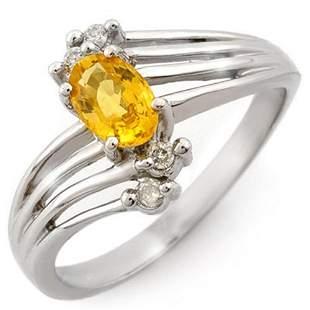 0.80 ctw Yellow Sapphire & Diamond Ring 18k White Gold