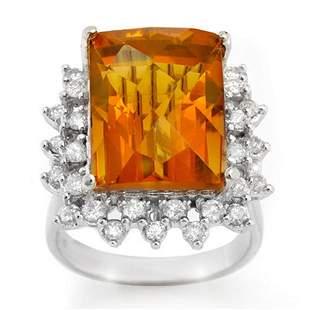 17.15 ctw Citrine & Diamond Ring 10k White Gold -