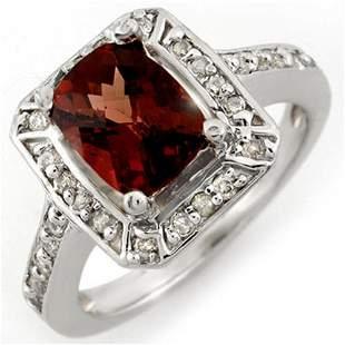 2.40 ctw Pink Tourmaline & Diamond Ring 14k White Gold