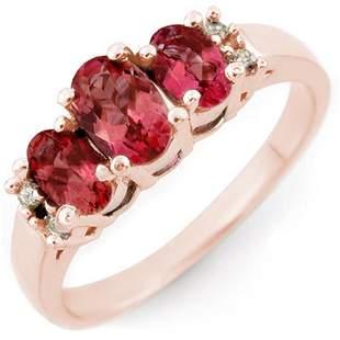 0.92 ctw Pink Tourmaline & Diamond Ring 14k Rose Gold -
