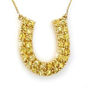 2.0 ctw Yellow Sapphire Necklace 10k Yellow Gold -