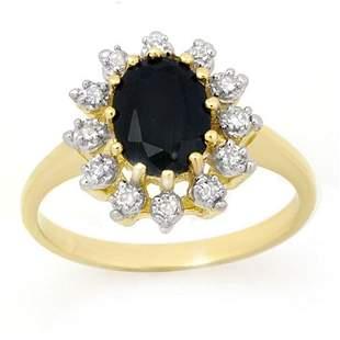 2.04 ctw Blue Sapphire & Diamond Ring 10k Yellow Gold -