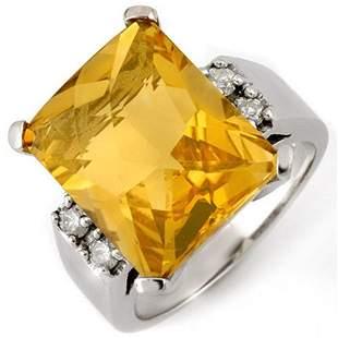 10.88 ctw Citrine & Diamond Ring 10k White Gold -
