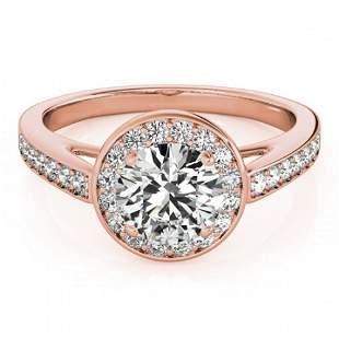 0.9 ctw Certified VS/SI Diamond Halo Ring 18k Rose Gold