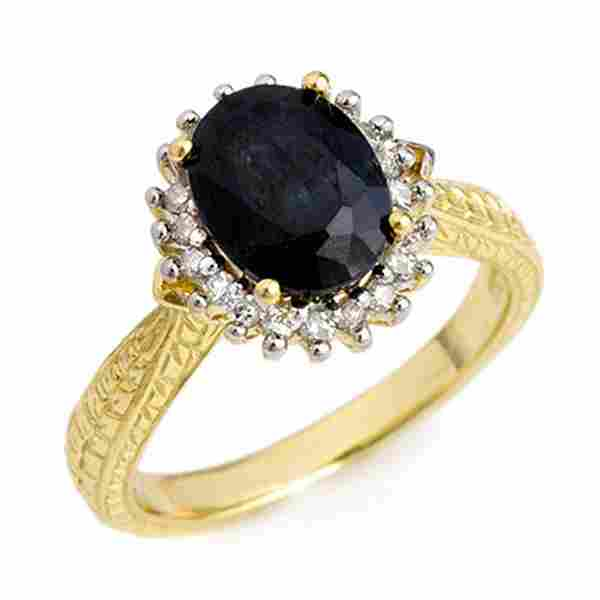2.75 ctw Blue Sapphire & Diamond Ring 10k Yellow Gold -