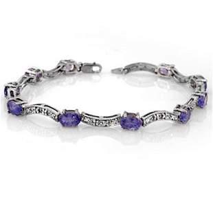4.25 ctw Tanzanite & Diamond Bracelet 10k White Gold -