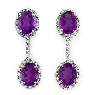 7.10 ctw Amethyst & Diamond Earrings 10k White Gold -