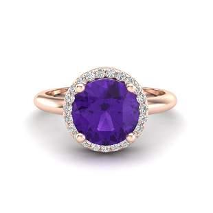 2 ctw Amethyst & Micro Pave VS/SI Diamond Ring 14k Rose