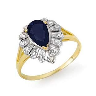 1.12 ctw Blue Sapphire & Diamond Ring 10k Yellow Gold -