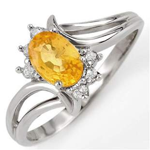 0.70 ctw Yellow Sapphire & Diamond Ring 18k White Gold