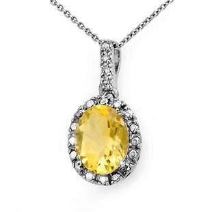 2.05 ctw Citrine & Diamond Pendant 10k White Gold -