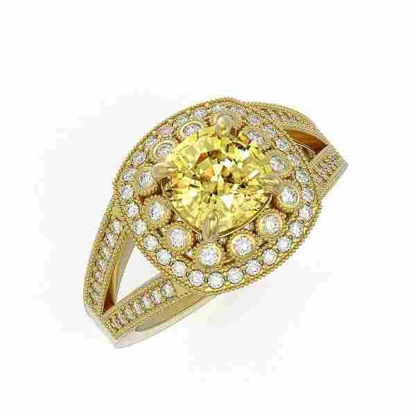 2.09 ctw Canary Citrine & Diamond Victorian Ring 14K