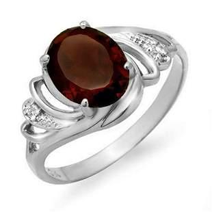 2.03 ctw Garnet & Diamond Ring 18k White Gold -