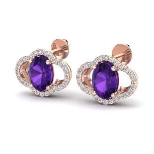 4 ctw Amethyst & Micro Pave VS/SI Diamond Earrings 10k