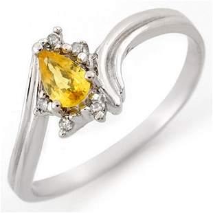 0.35 ctw Yellow Sapphire & Diamond Ring 18k White Gold