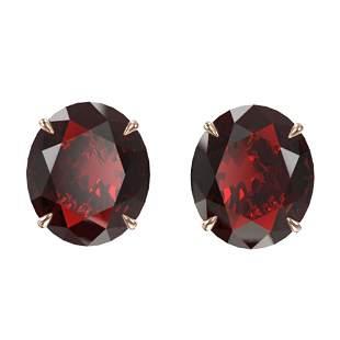 18 ctw Garnet Designer Solitaire Stud Earrings 14k Rose