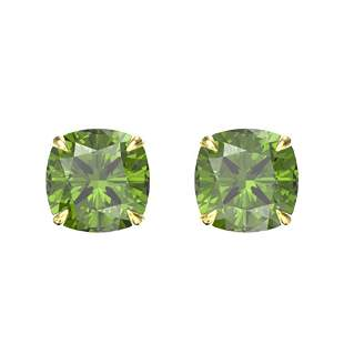 4 ctw Cushion Green Tourmaline Designer Stud Earrings