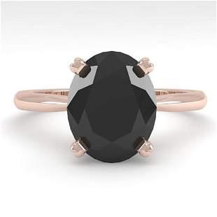 5.0 ctw Oval Black Diamond Engagment Designer Ring 18k