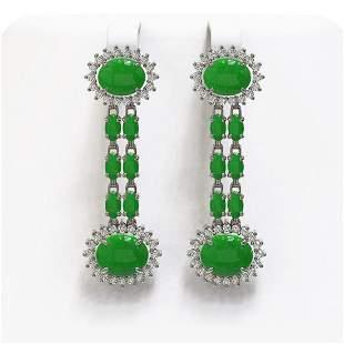 10.72 ctw Jade & Diamond Earrings 14K White Gold -
