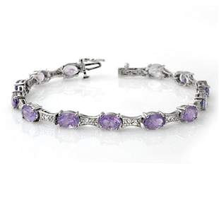 12.04 ctw Tanzanite & Diamond Bracelet 10k White Gold -
