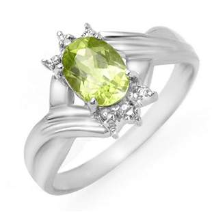 1.04 ctw Peridot & Diamond Ring 10k White Gold -