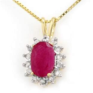 1.90 ctw Ruby & Diamond Pendant 10k Yellow Gold -