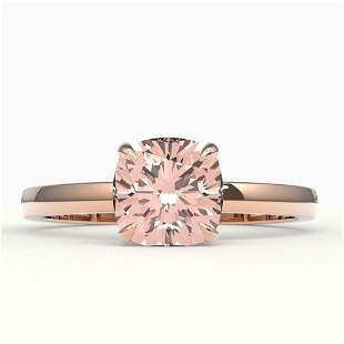 1.50 ctw Cushion Cut Morganite Solitaire Engagment Ring