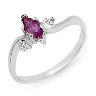 0.29 ctw Amethyst & Diamond Ring 18k White Gold -