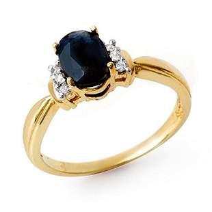 1.05 ctw Blue Sapphire & Diamond Ring 10k Yellow Gold -