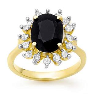 3.67 ctw Blue Sapphire & Diamond Ring 10k Yellow Gold -