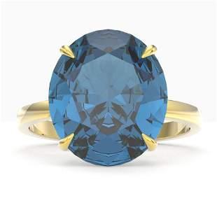 9 ctw London Blue Topaz Designer Engagment Ring 18k