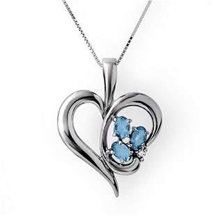 0.87 ctw Blue Topaz & Diamond Pendant 10k White Gold -