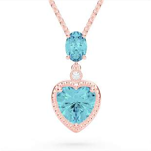 4 ctw Sky Blue Topaz & VS/SI Diamond Heart Necklace 10k