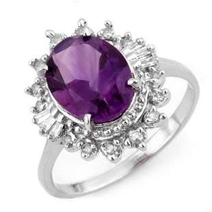 3.45 ctw Amethyst & Diamond Ring 18k White Gold -