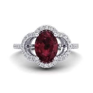 2 ctw Garnet & Micro Pave VS/SI Diamond Certified Ring