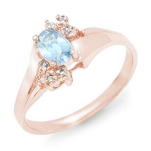 0.52 ctw Blue Topaz & Diamond Ring 10k Rose Gold -