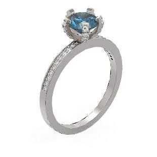 1.35 ctw Intense Blue Diamond Ring 18K White Gold -