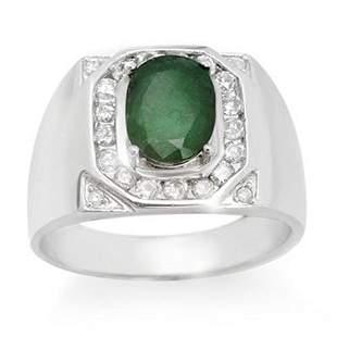 2.60 ctw Emerald & Diamond Men's Ring 14k White Gold -