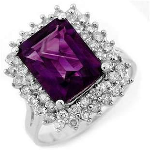 4.75 ctw Amethyst & Diamond Ring 18k White Gold -