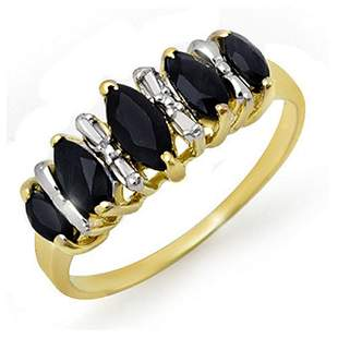 1.02 ctw Blue Sapphire Ring 10k Yellow Gold - REF-12Y8X