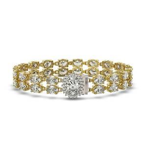 13.54 ctw Oval Diamond Bracelet 18K Yellow Gold -
