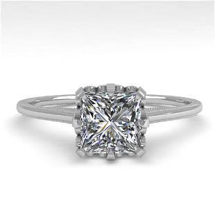 1.0 ctw VS/SI Princess Diamond Engagment Ring 18k White