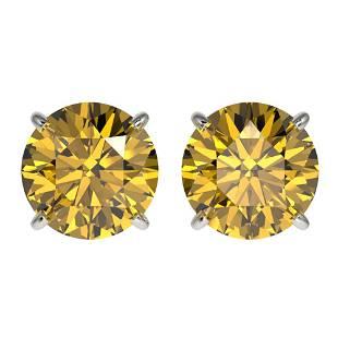 ctw Certified Intense Yellow Diamond Stud Earrings