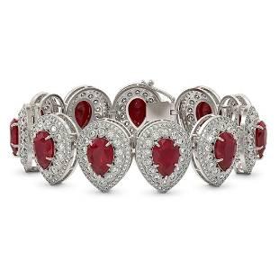 6.04 ctw Certified Ruby & Diamond Victorian Bracelet