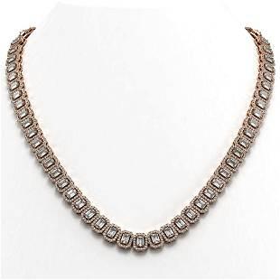 30.73 ctw Emerald Cut Diamond Micro Pave Necklace 18K